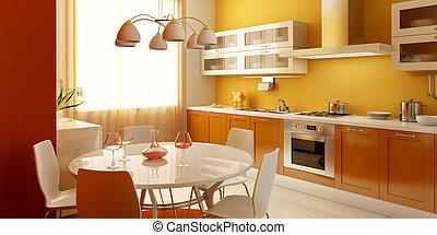 wewnętrzny, nowoczesny, kuchnia