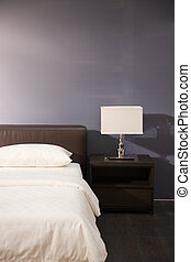 wewnętrzny, nowoczesny pokój, łóżko