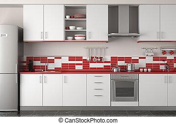 wewnętrzny, nowoczesny, projektować, czerwony, kuchnia