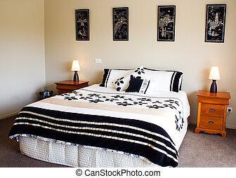 wewnętrzny, nowoczesny, sypialnia