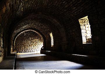 wewnętrzny, od, średniowieczny, zamek