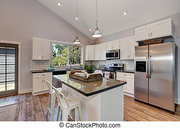 wewnętrzny, od, kuchnia, pokój, z, wysoki, sklepiony, ceiling.