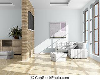 wewnętrzny, od, niejaki, żyjący, room., 3d, image.