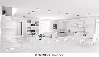 wewnętrzny, panorama, izba, render, 3d