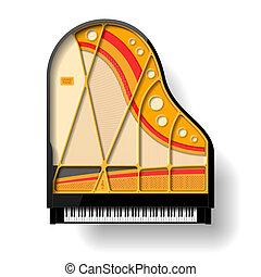wewnętrzny, piano, wielki