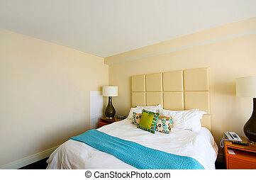 wewnętrzny, podwójny, nowoczesny pokój, łóżko