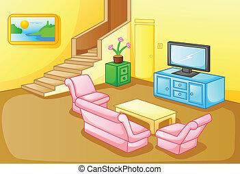 wewnętrzny, pokój, dom, żyjący