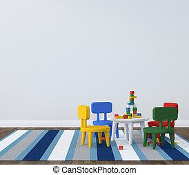 wewnętrzny, pokój dziecinny, kidsroom