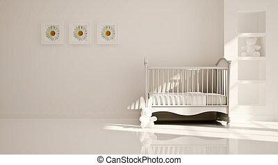 wewnętrzny, pokój dziecinny, nowoczesny, minimalny