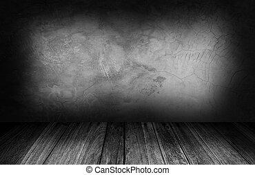 wewnętrzny, pokój, z, szary, kamień ściana