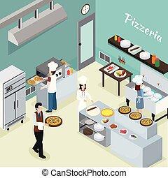 wewnętrzny, profesjonalny, isometric, tło, kuchnia