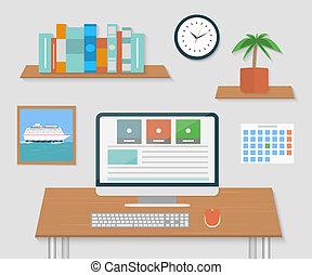 wewnętrzny projektodawca, nowoczesny, biuro, desktop