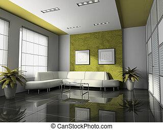 wewnętrzny, przedstawienie, biuro, 3d