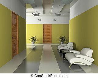 wewnętrzny, przedstawienie, korytarz, biuro, 3d