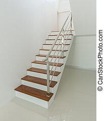 wewnętrzny, schody, drewno, -, poręcz
