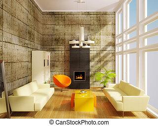 wewnętrzny, sofa, biały, nowoczesny pokój