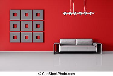 wewnętrzny, sofa, nowoczesny, render, 3d