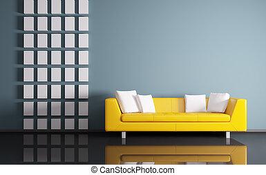 wewnętrzny, sofa, render, 3d