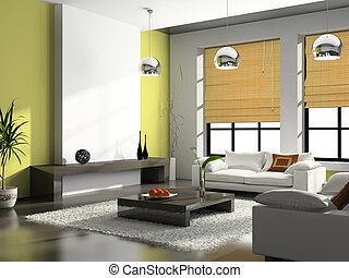 wewnętrzny, szykowny, izba
