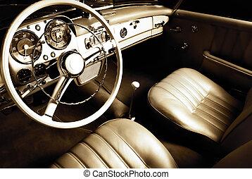 wewnętrzny, wóz, luksus