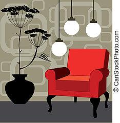 wewnętrzny, wektor, czerwony, fotel, retro