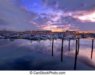 Weymouth marina at sunset