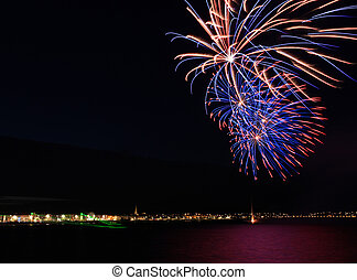 Weymouth seafront celebrations - Olympic ceremony on...