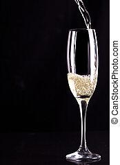 wezen, glas, gevulde, sekt