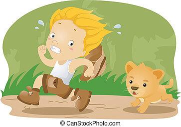 wezen, leeuw, achtervolgde, welp, geitje