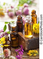 wezenlijke olies, en, medisch, bloemen, keukenkruiden
