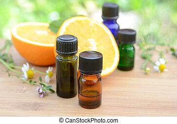 wezenlijke olies, met, vruchten
