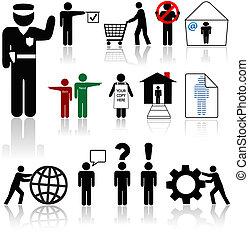 wezens, mensen, -, menselijk, symbool, iconen
