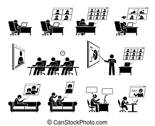 WFH or work from home video conference online meeting icons.