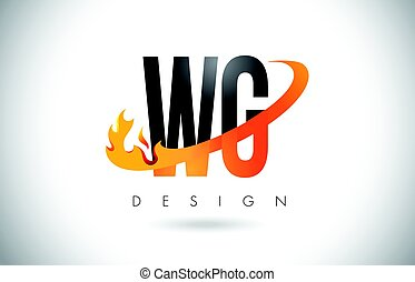 Etonnant ... WG W G Letter Logo With Fire Flames Design And Orange.