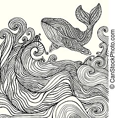 Whale and ocean waves coloring page