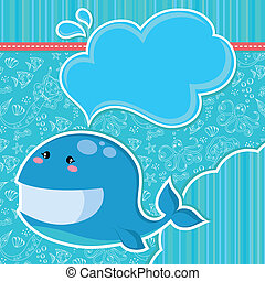 whale card - whale over seamless doodle pattern and other...