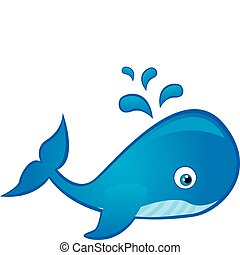 whale cartoon - blue whale cartoon isolated over white...