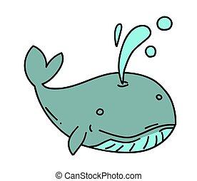 Whale cartoon hand drawn image