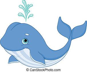 Whale Cartoon - Illustration of cute cartoon whale