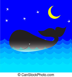 Whale cartoon - vector illustration.Whale in the ocean at...