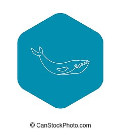 Whale fish icon, outline style
