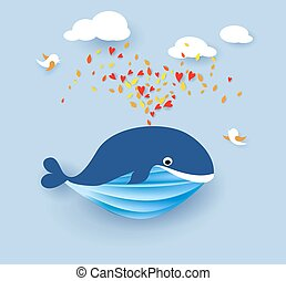 Whale flying on blue sky background