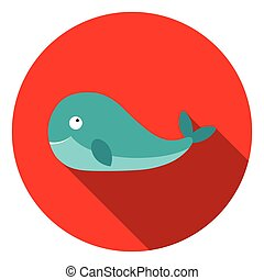 Whale icon in flat style isolated on white background. Animals symbol stock vector illustration.