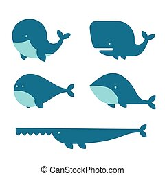 Whale Icon Set. Cartoon Style on White Background. Vector...