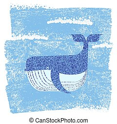 Whale in blue sea background. Vector illustration