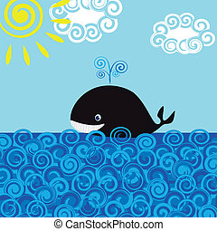 Whale in the sea, vector