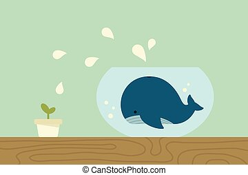 Whale in , vector
