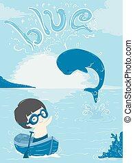 Whale Kid Boy Color Blue Illustration