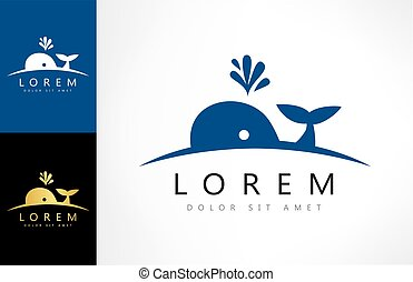 whale logo vector animal design
