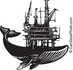Whale Oil Rig - Woodcut style image of a whale with an Off...
